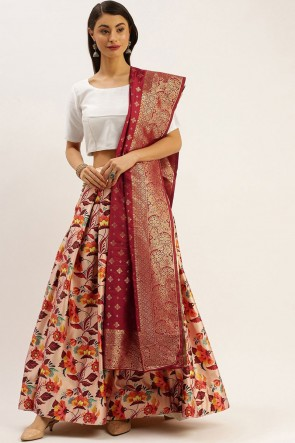 Peach Satin Fabric Zari Jacquard Work Lehenga Choli With Dupatta