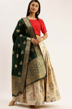 Satin Fabric Designer Cream Zari Jacquard Work Lehenga Choli With Dupatta
