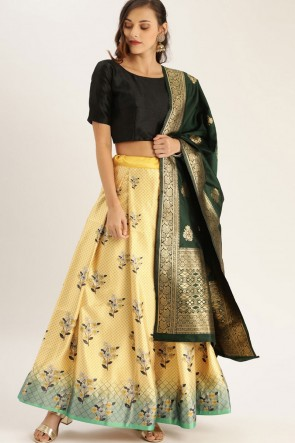 Satin Fabric Zari Jacquard Work Designer Yellow Lehenga Choli With Dupatta