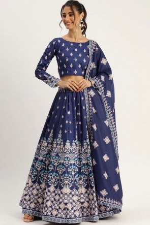 Navy Blue  Silk Fabric Designer Lehenga Choli With Dupatta