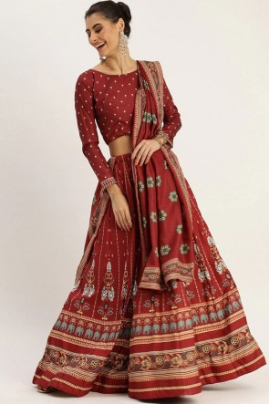 Silk Fabric  Designer Maroon Lehenga Choli With Dupatta