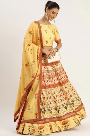 Designer Yellow Silk Fabric Lehenga Choli With Dupatta