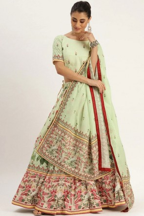 Pista Silk Designer Lehenga Choli With Dupatta