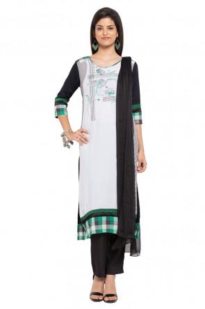 Graceful White Cotton Faux Crepe Straight Pant Plus Size Readymade Salwar Suit with Faux Chiffon Dupatta