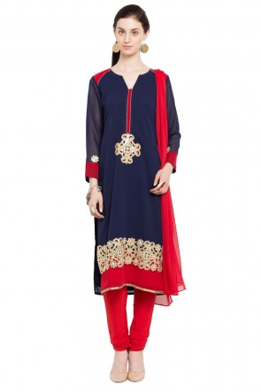 Supreme Blue Faux Georgette and Faux Crepe Churidar Plus Size Readymade Salwar Suit