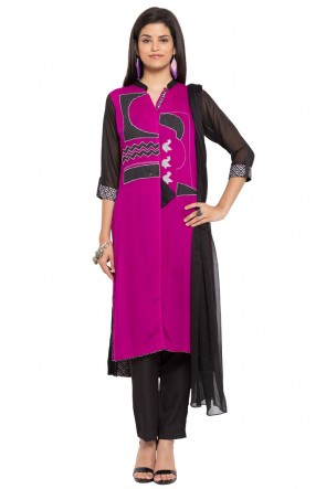 Admirable Purple Faux Georgette and Faux Crepe Straight Pant Plus Size Readymade Salwar Suit