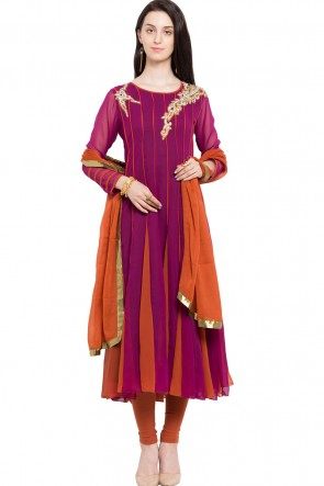 Beautiful Magenta Faux Georgette and Faux Crepe Churidar Bottom Plus Size Readymade Anarkali Salwar Suit