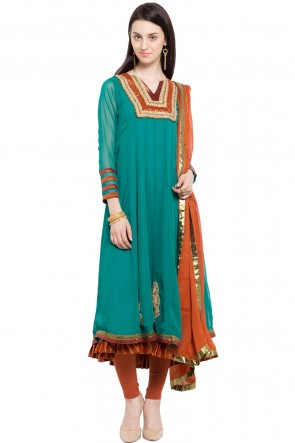 Charming Turquoise Faux Georgette and Faux Crepe Bottom Plus Size Readymade Anarkali Salwar Suit