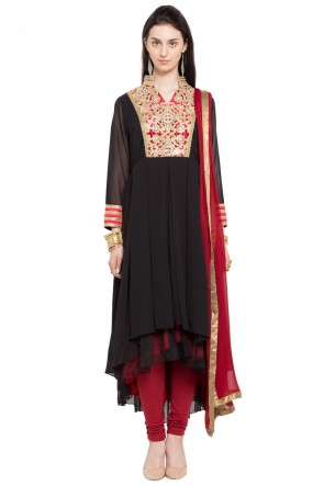 Classic Black Faux Georgette and Faux Crepe Churidar Plus Size Readymade Anarkali Salwar Suit with Faux Chiffon Dupatta