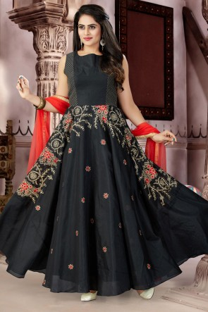 Charming Black Chanderi and Lycra Bottom Plus Size Readymade Gown