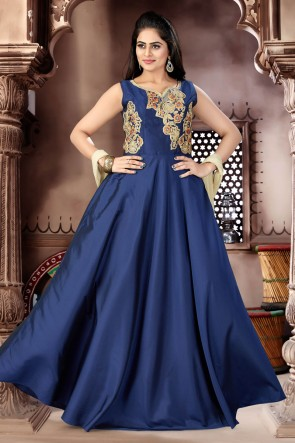 Supreme Navy Blue Chanderi Churidar Bottom Party Wear Plus Size Readymade Gown
