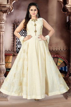 Classic Cream Chanderi and Lycra Churidar Plus Size Readymade Gown with Chiffon Dupatta