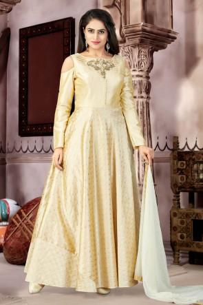 Pretty Beige Chanderi and Lycra Churidar Bottom Plus Size Readymade Gown