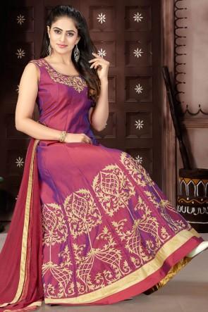 Excellent Maroon Chanderi Churidar Plus Size Readymade Gown With Chiffon Dupatta