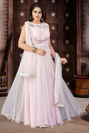 Admirable Pink Net and Lycra Churidar Plus Size Readymade Gown With Chiffon Dupatta