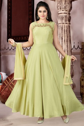 Desirable Mehendi Green Muslin and Lycra Churidar Plus Size Readymade Gown