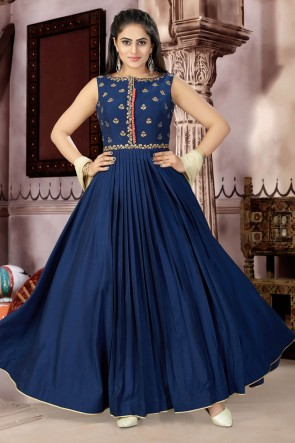 Graceful Navy Blue Muslin and Lycra Churidar Plus Size Readymade Gown With Chiffon Dupatta