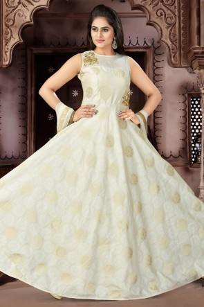 Excellent Cream Chanderi Churidar Plus Size Readymade Gown With Chiffon Dupatta