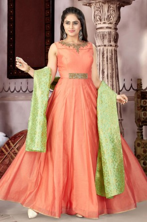 Admirable Orange Chanderi and Lycra Churidar Plus Size Readymade Gown With Chiffon Dupatta