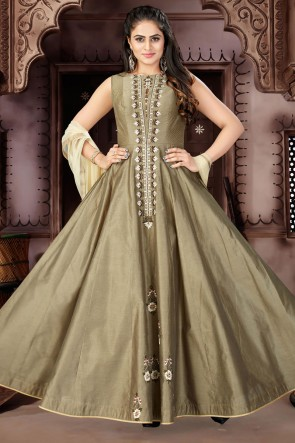 Lovely Mehendi Green Chanderi Plus Size Readymade Gown With Chiffon Dupatta