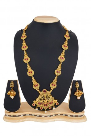 Excellent Golden Alloy Necklace Set