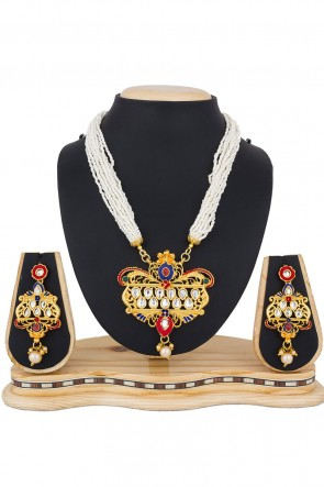 Beautiful Golden Alloy Necklace Set