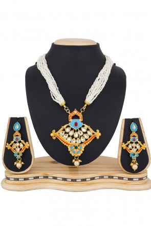 Charming Golden Party Wear Alloy Necklace Set