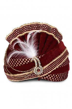 Gorgeous Maroon Velvet Zari Work Turban