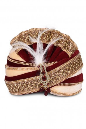 Pretty Maroon Velvet Stone Work Wedding Safa