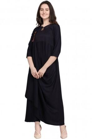 Gorgeous Black Rayon Plain Kurti