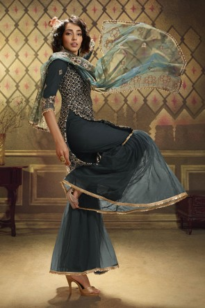 Grey Net Sequence Embroidered Work  Plazzo Suit With Net Dupatta