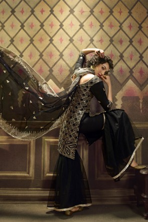 Sequence Embroidered Worked Black Net Plazzo Suit With Net Dupatta