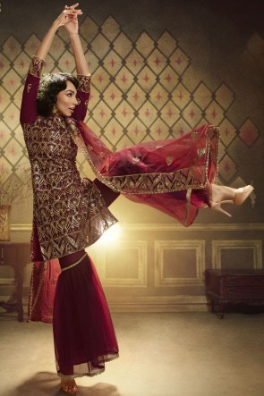 Net Maroon Sequence Embroidered Work Plazzo Suit With Net Dupatta