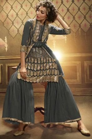 Sequence Embroidered Worked Grey Net Plazzo Suit With Net Dupatta
