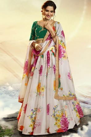 White Printed Sequins Work Organza Fabric Designer Lehenga Choli With Dupatta
