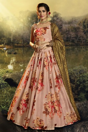 Organza Fabric Printed Sequins Work Designer Peach Lehenga Choli With Dupatta
