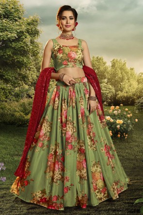 Organza Fabric Designer Green Printed Sequins Work Lehenga Choli With Dupatta