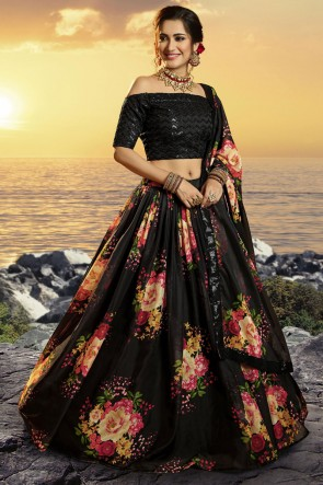 Printed Sequins Work Designer Black Organza Fabric Lehenga Choli With Dupatta