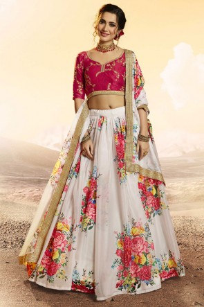 Printed Sequins Work White Organza Designer Lehenga Choli With Dupatta