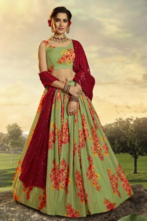 Green Organza Fabric Printed Sequins Work Lehenga Choli With Dupatta