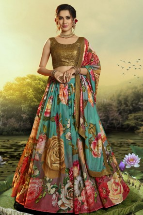 Heavy Designer Golden Printed Sequins Work Organza Lehenga Choli With Dupatta