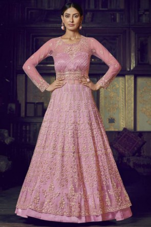 Abaya Style Pink Embroidered Net Anarkali Suit With Net Dupatta
