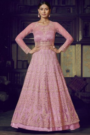 Pink Net Embroidered Abaya Style Anarkali Suit With Net Dupatta