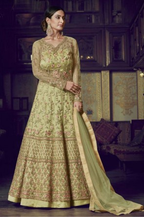 Embroidered Yellow Net Abaya Style Anarkali Suit With Net Dupatta