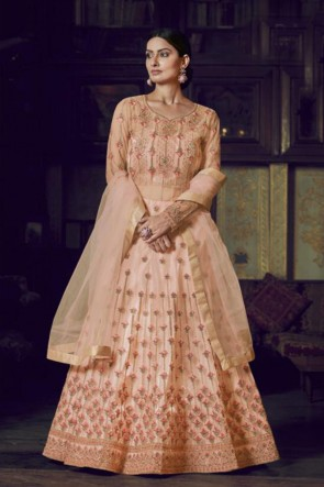 Peach Net Embroidered Abaya Style Anarkali Suit With Net Dupatta