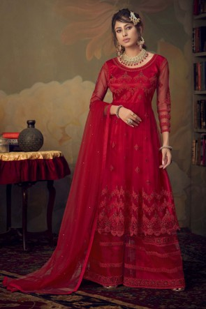 Lovely Red Net Embroidered Stone Work Designer Salwar Suit With Dupatta