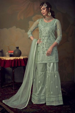 Pista Embroidered Stone Work Net Fabric Salwar Suit With Dupatta