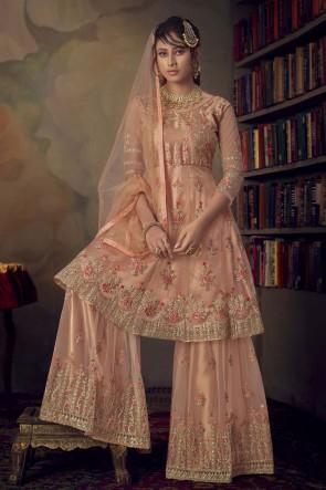 Net Peach Embroidered Stone Work Designer Salwar Suit With Dupatta