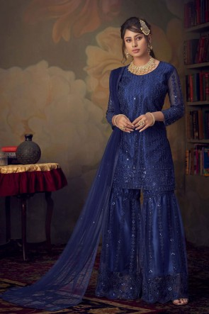 Embroidered Stone Work Blue Net Fabric Salwar Kameez With Dupatta