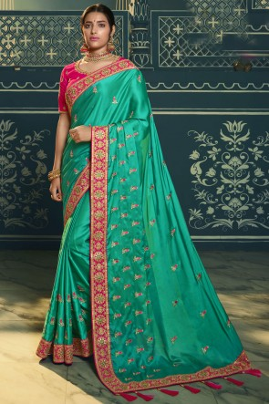 Stunning Green Silk Designer Embroidered Lace Work Saree With Blouse